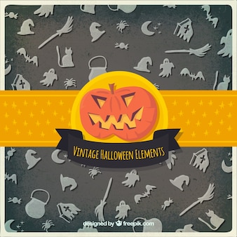Vintage halloween elements