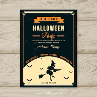 Vintage halloween party poster with witch and moon