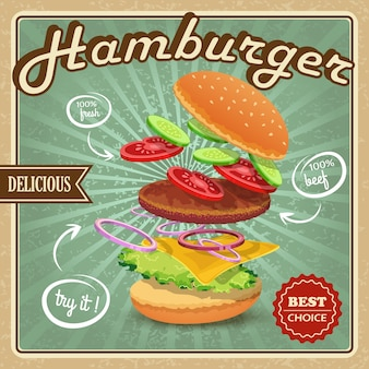 Vintage hamburger background