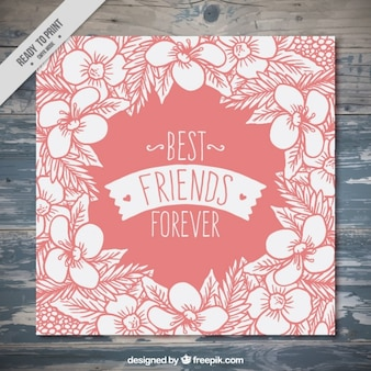 Vintage hand drawn floral card of friendship day