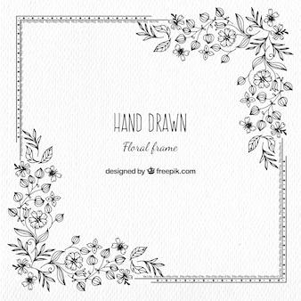 Vintage hand drawn floral frame