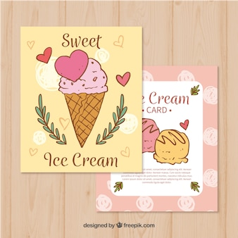 Vintage hand drawn ice cream cards