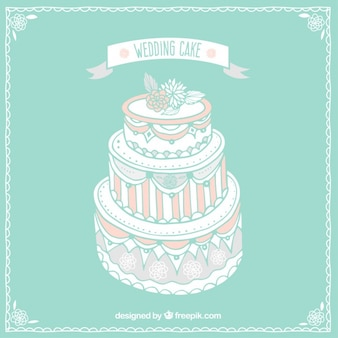 Vintage hand drawn wedding cake