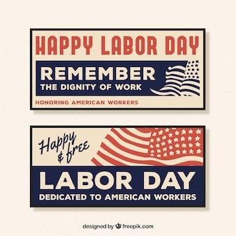 Vintage happy labor day banners