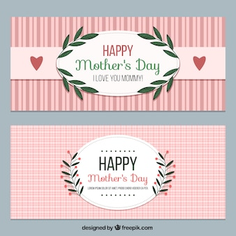 Vintage happy mother's day banners