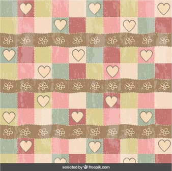 Vintage hearts and flowers pattern