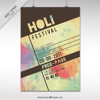 Vintage holi festival poster