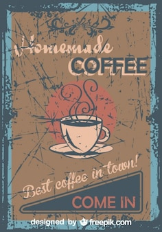 Vintage Homemade Coffee Grunge Poster