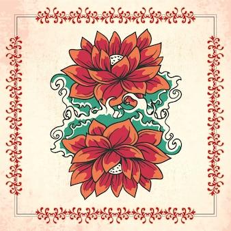 花とフレームのヴィンテージイラスト