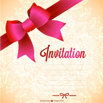Vintage invitation with red ribbon