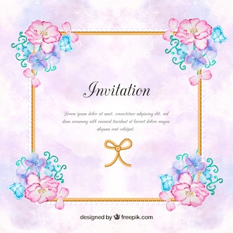 Vintage invitation with watercolor flowers