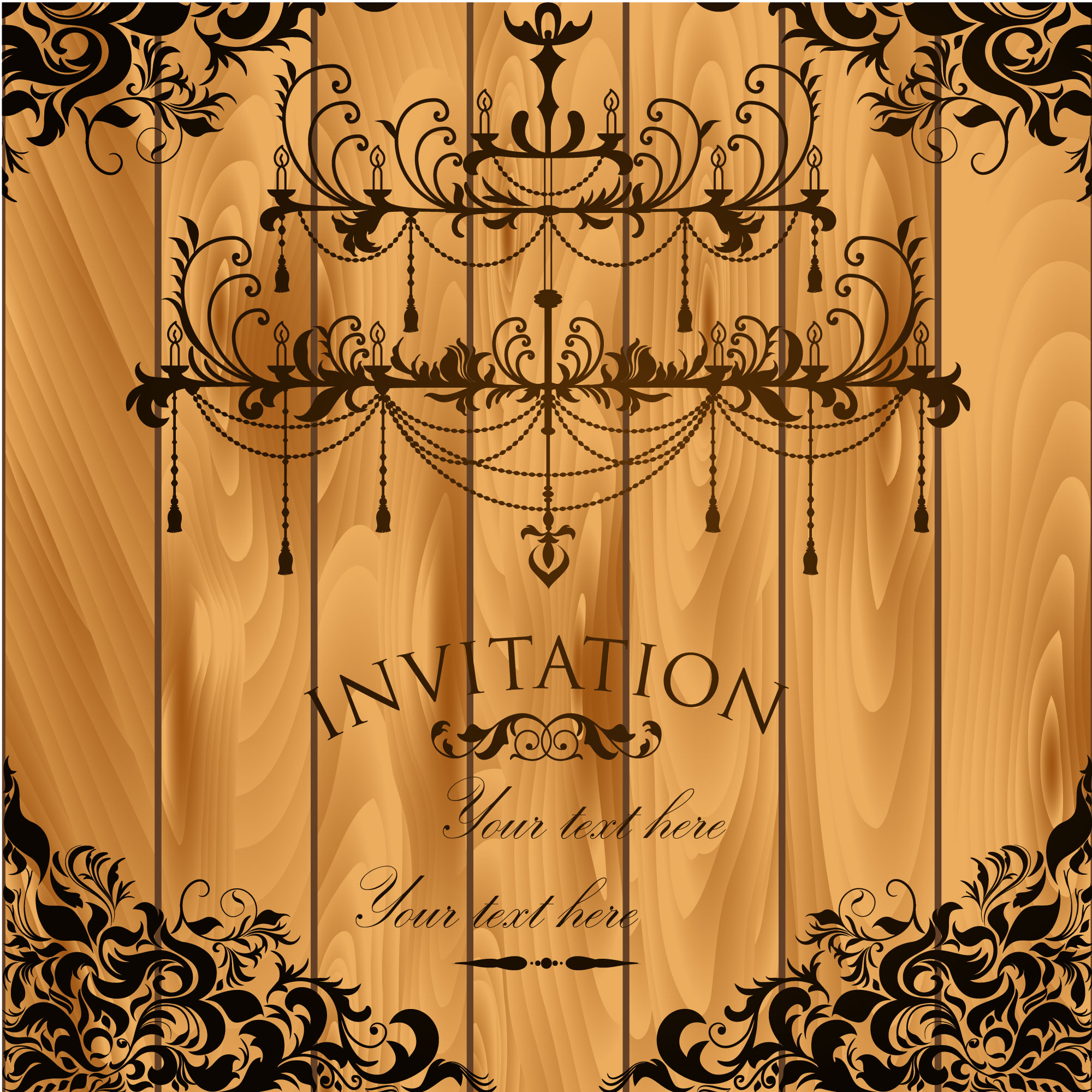 Vintage invitation with wooden background