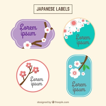 Vintage japanese labels with cherry blossom