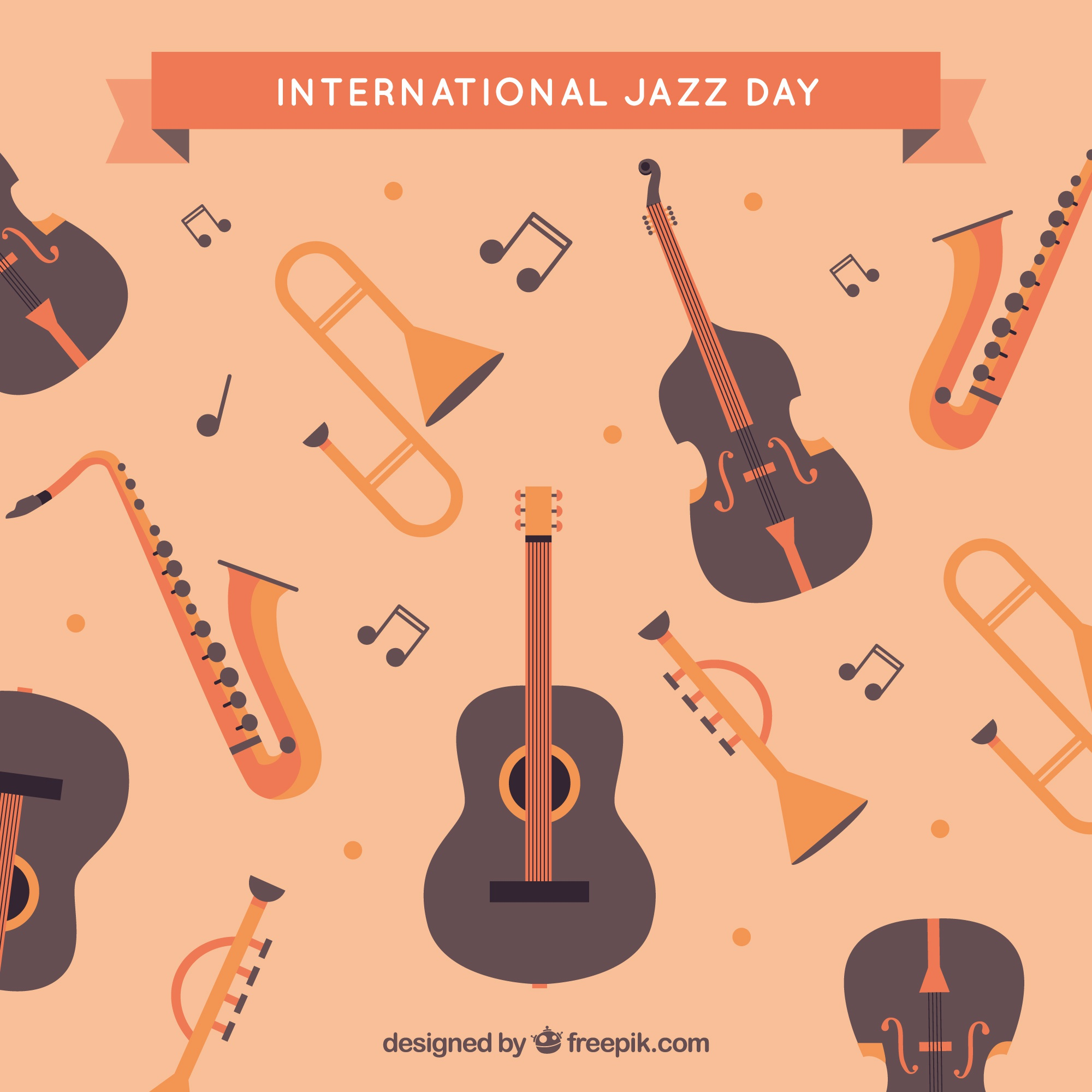 Vintage jazz background with musical instruments