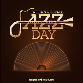 Vintage jazz background with vinyl