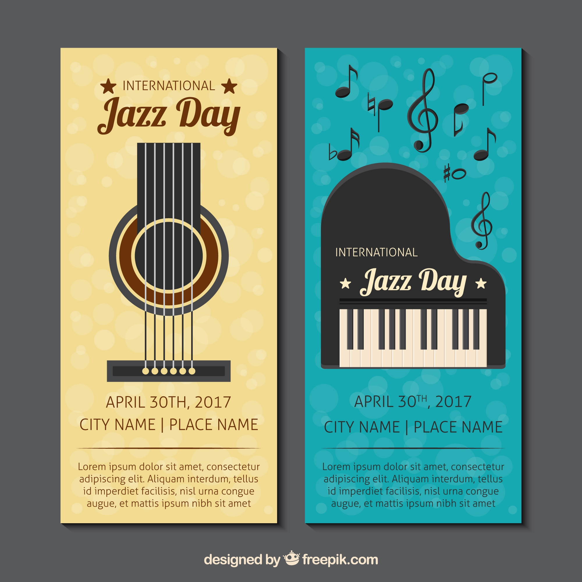 Vintage jazz banners with guitar and piano