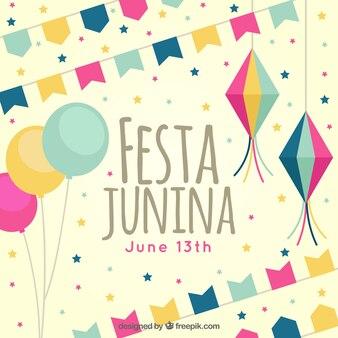 Vintage junina party background