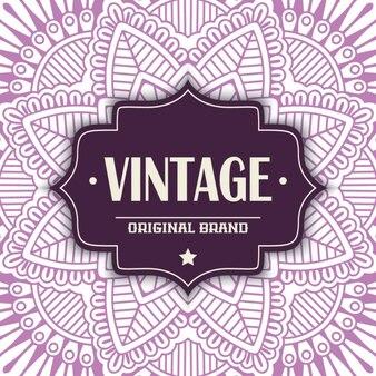 Vintage label on a purple mandala