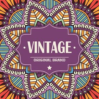 Vintage label on an amazing mandala