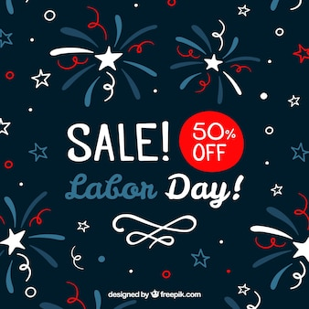 Vintage labor day sale background of fireworks