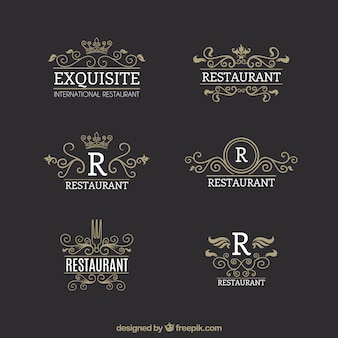 Vintage logos for gourmet restaurants