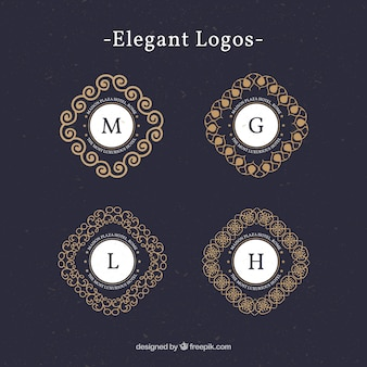 Vintage logos with capital letters