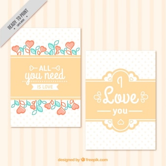 Vintage love cards with little hearts