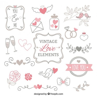 Vintage love elements collection