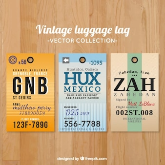 Vintage luggage tag collection in flat design