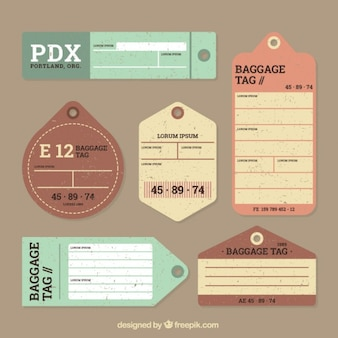 Vintage luggage tags set in flat design