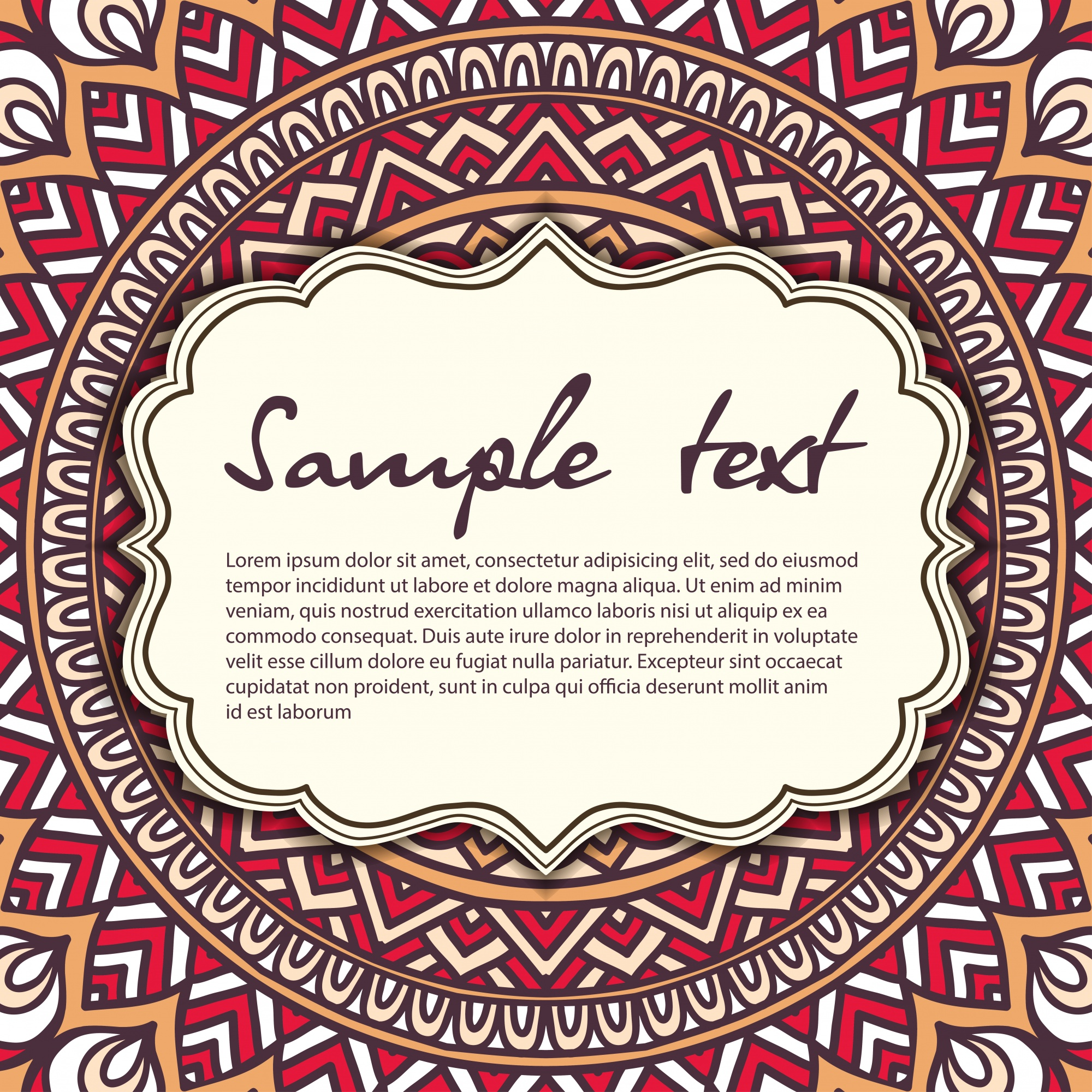 Vintage mandala design with text template