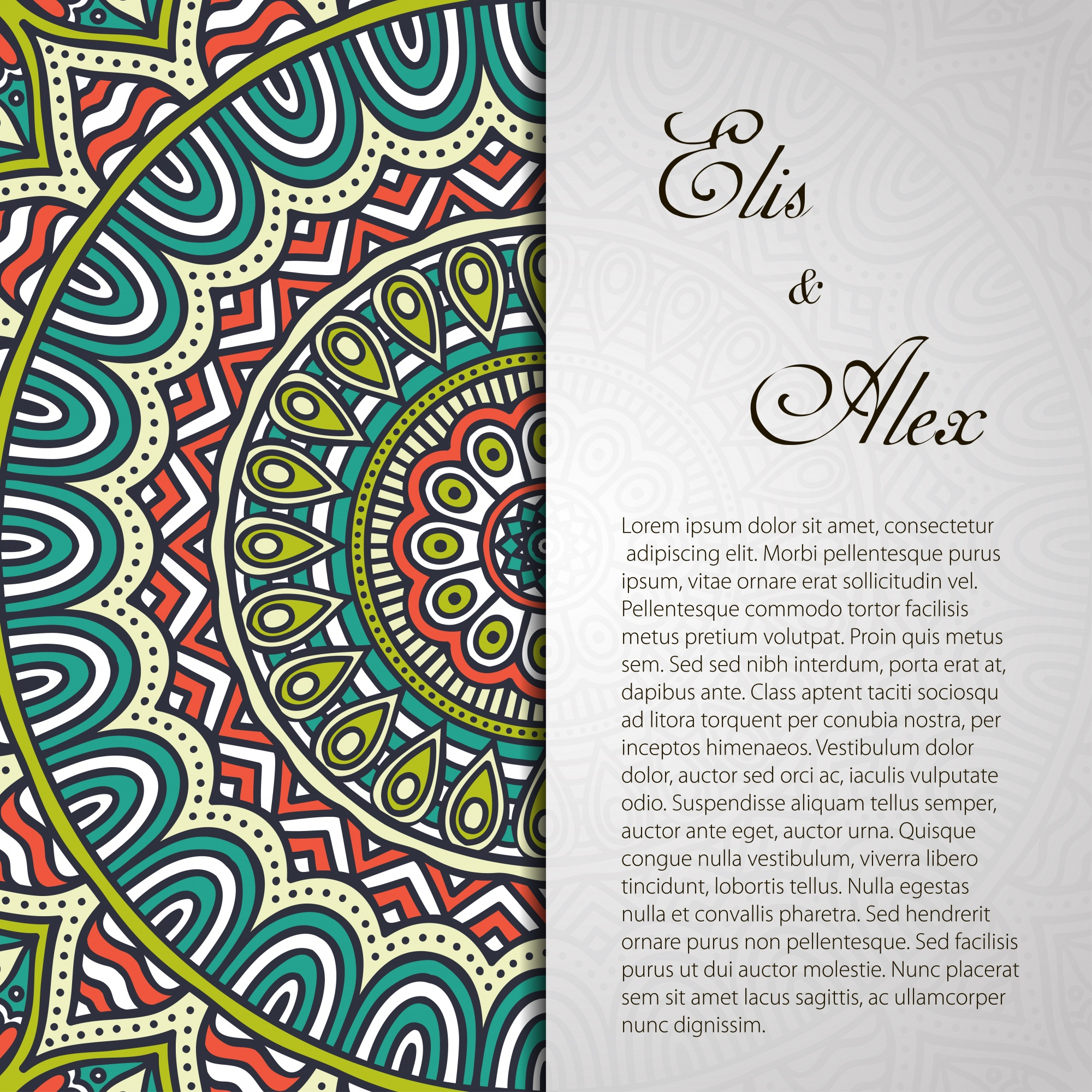 Vintage mandala wedding invitation with space for text