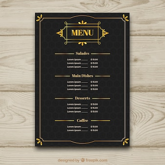 Vintage menu template with golden frame