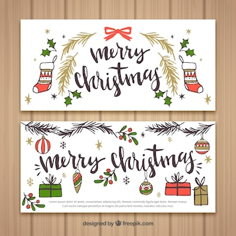 Vintage merry christmas banners with drawings