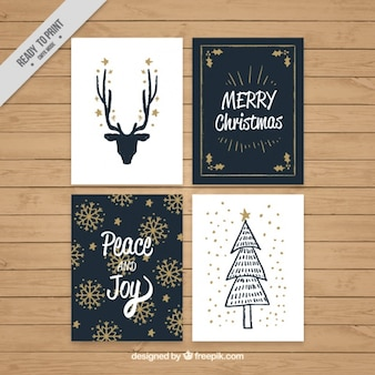 Vintage merry christmas cards with golden details