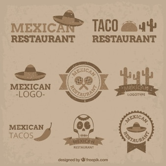 Vintage mexican logos in flat design