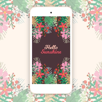 Vintage mobile floral background