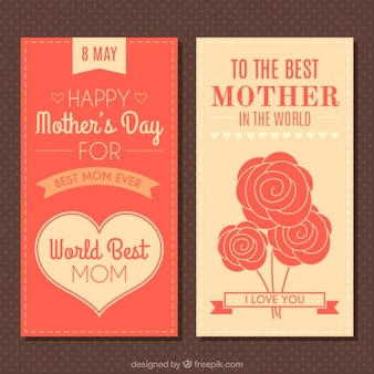 Vintage mother's day banners with heart and roses