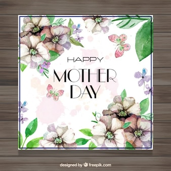 Vintage mother's day card with flowers details