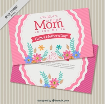 Vintage mother's day greeting with hand drawn flowers