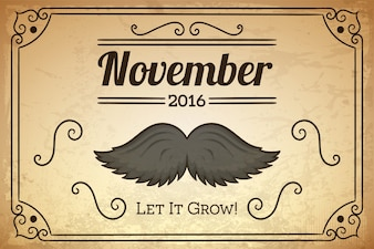 Vintage movember background with an ornamental frame