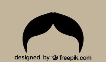 Vintage Mustache Silhouette Design