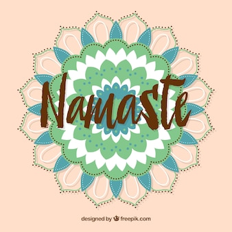 Vintage namaste background with mandala