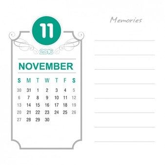 Vintage November calendar 2016