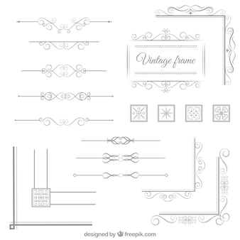 Vintage ornamental elements