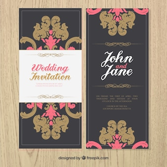 Vintage ornamental wedding invitation
