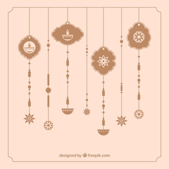 Vintage ornaments background of diwali
