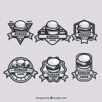 Vintage pack of burger logos
