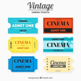 Vintage pack of cinema tickets with different colors