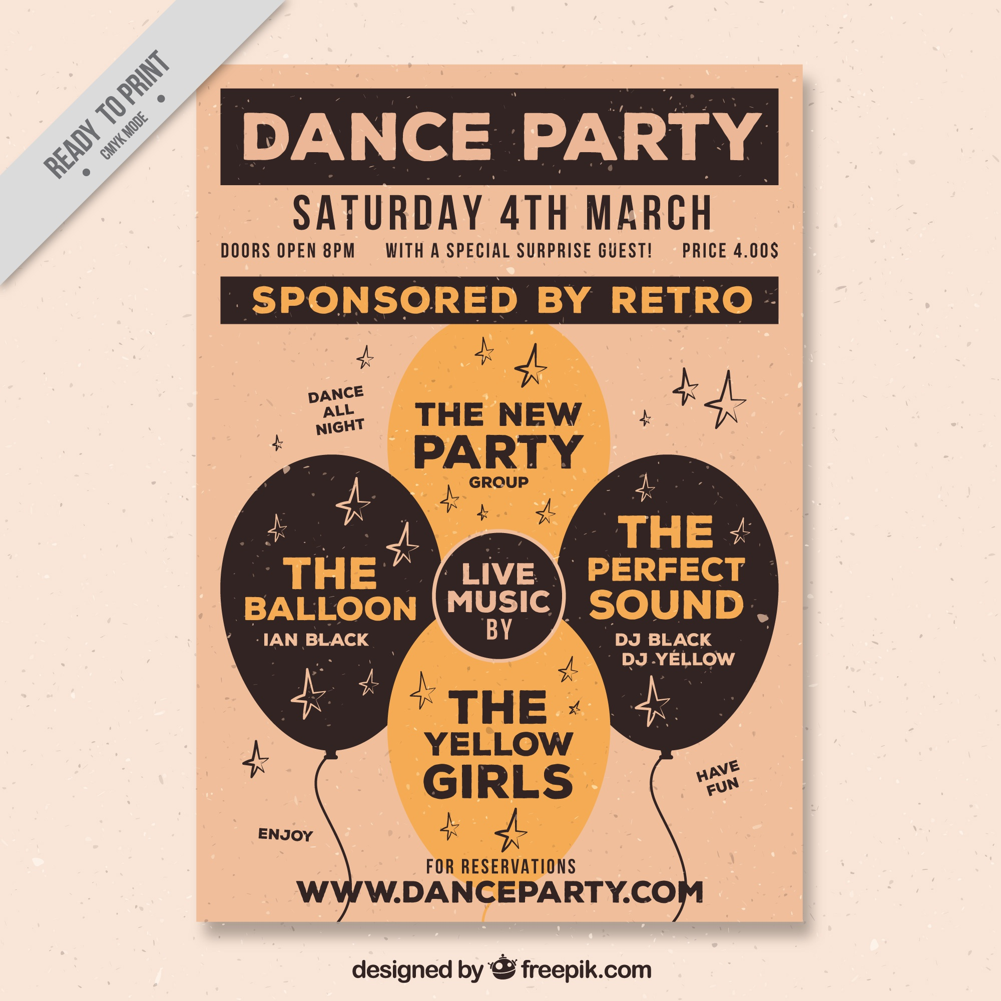 Vintage party poster with balloons
